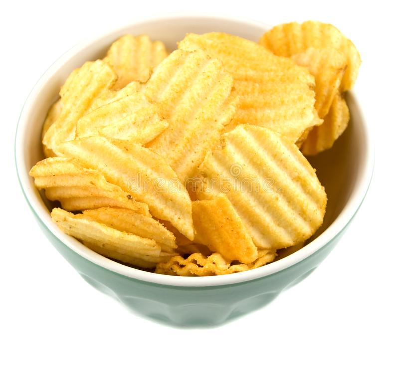 Bowl of chips royalty free stock photo
