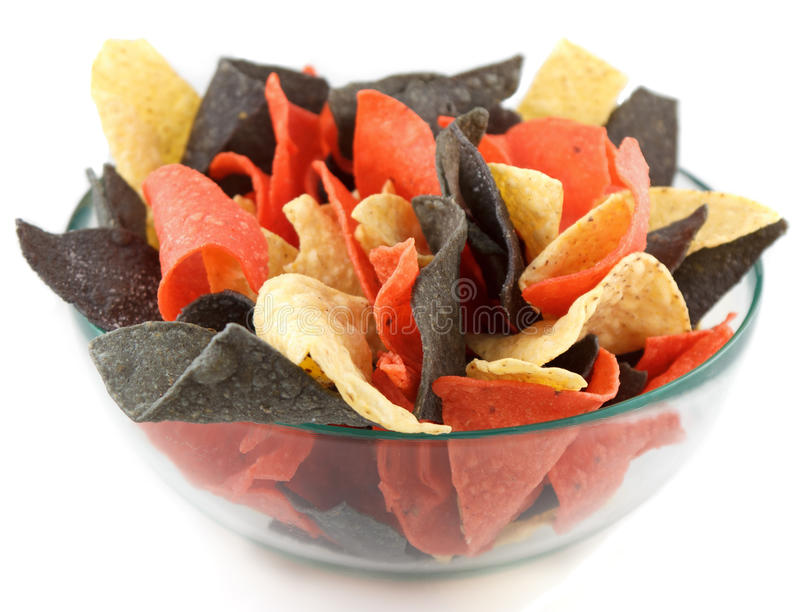 Bowl of chips-mexican style stock photo