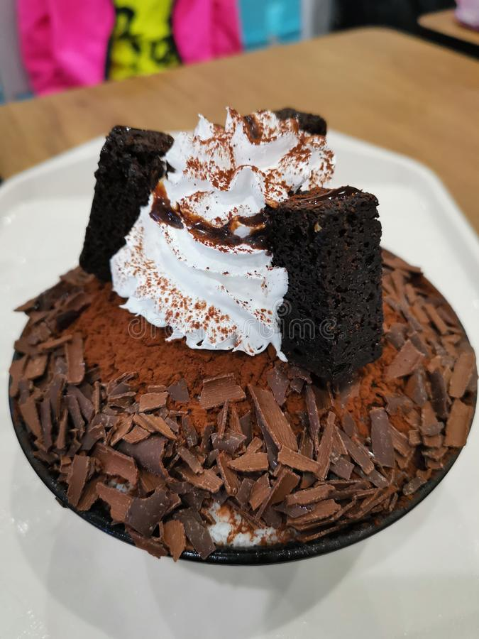 A bowl of Chocolate bingsu royalty free stock photos