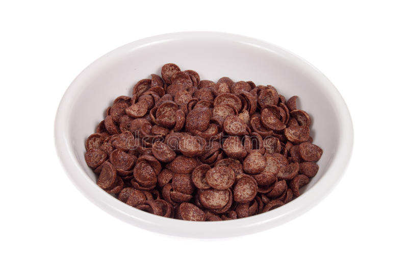 Bowl from chocolate corn flakes. Photo on the white stock photo
