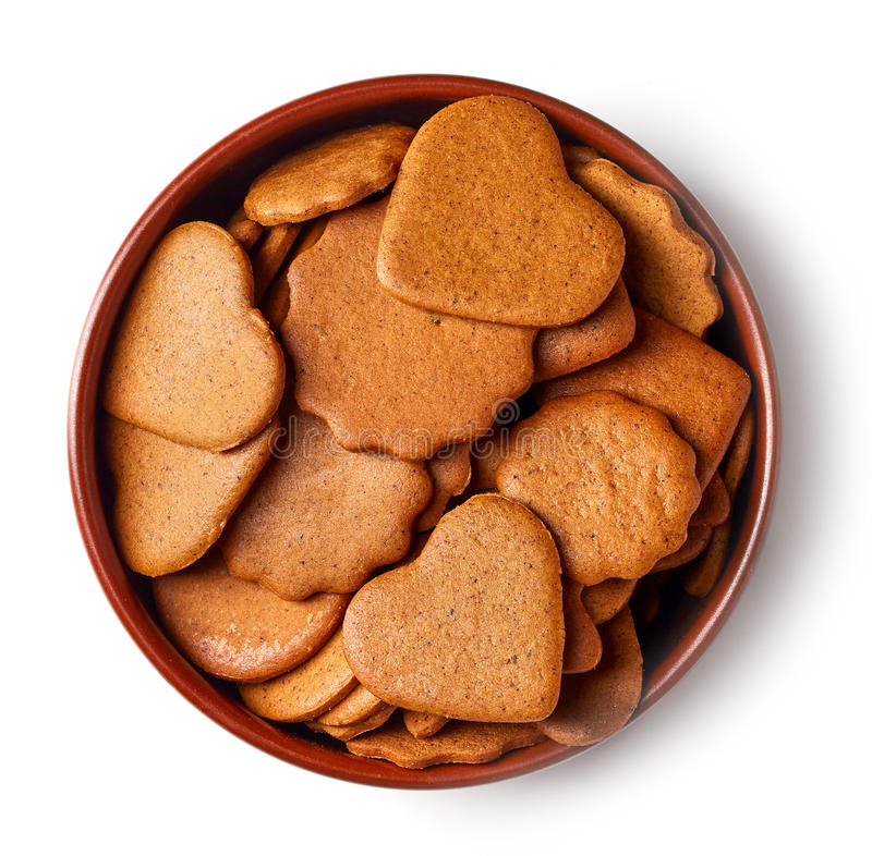 Bowl of christmas cookies from above royalty free stock image