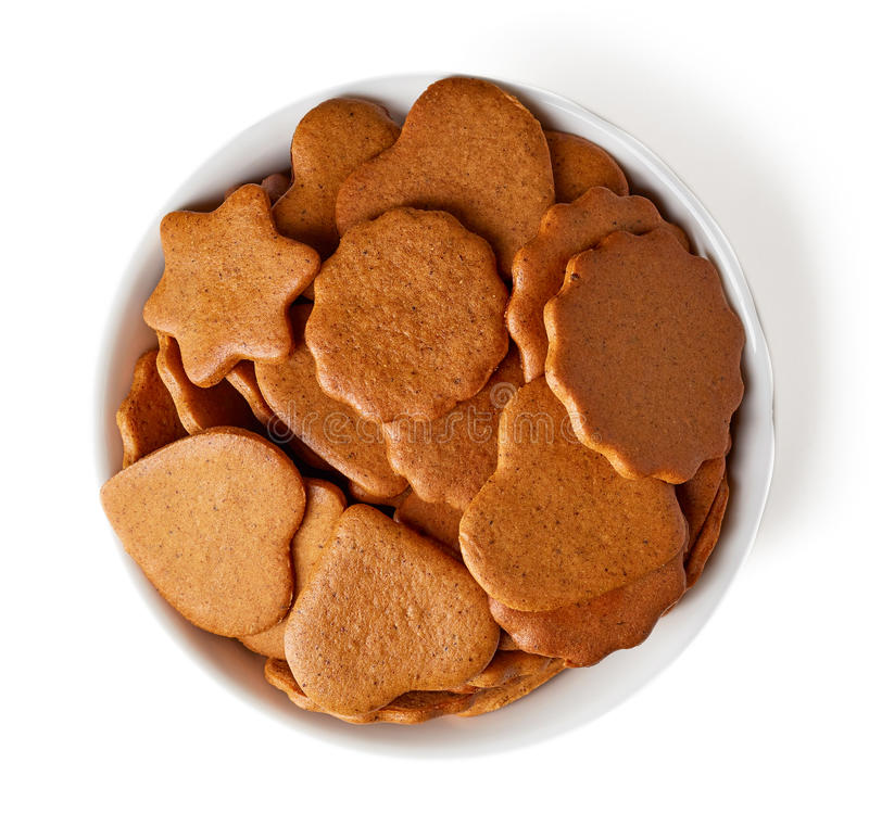 Bowl of christmas cookies from above stock images