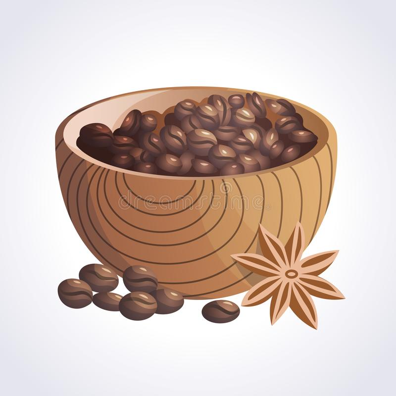 Bowl of coffee beans and anise royalty free stock photos