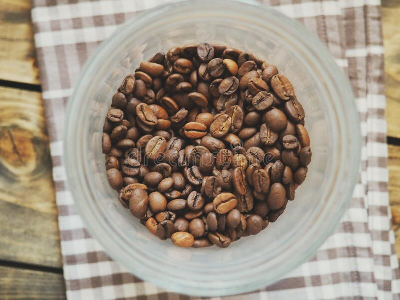 Bowl of coffee beans royalty free stock image