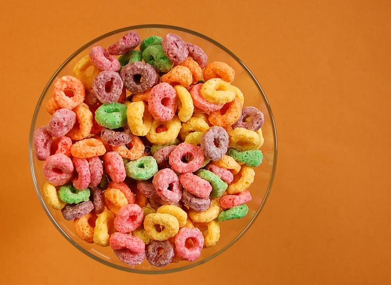 Bowl of colourful cereal stock photography