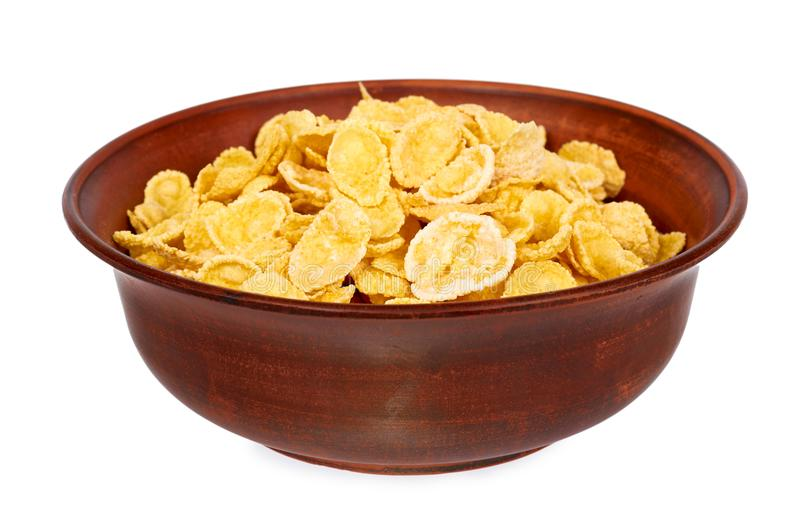 Bowl of corn flakes isolated on white background.  royalty free stock image