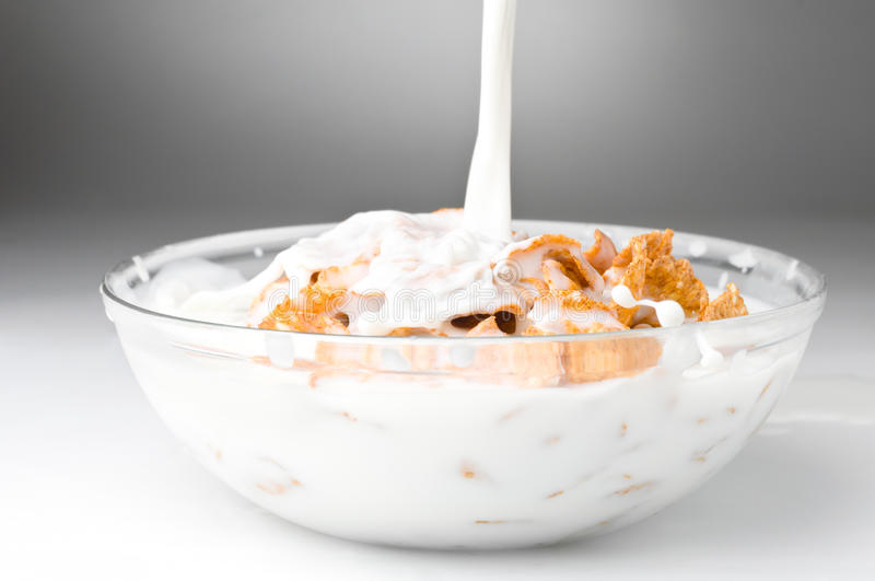 Download Bowl With Corn Flakes And Milk Stock Photo - Image: 18342662