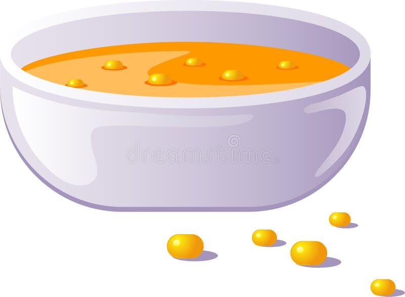 Bowl of corn soup royalty free illustration