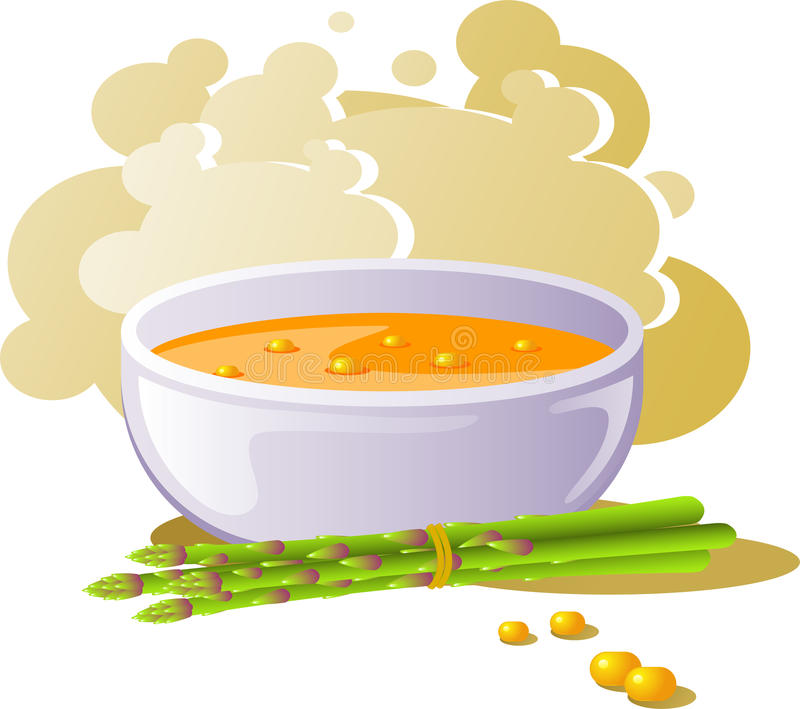 Bowl of corn soup with asparagus royalty free illustration