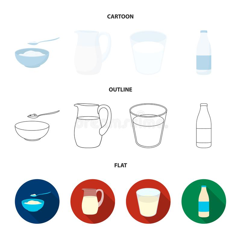 Bowl of cottage cheese, a glass, a bottle of kefir, a jug. Moloko set collection icons in cartoon,outline,flat style. Vector symbol stock illustration royalty free illustration