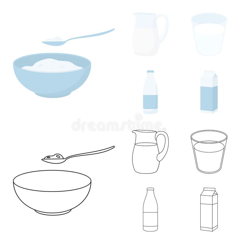 Bowl of cottage cheese, a glass, a bottle of kefir, a jug. Moloko set collection icons in cartoon,outline style vector. Symbol stock illustration vector illustration
