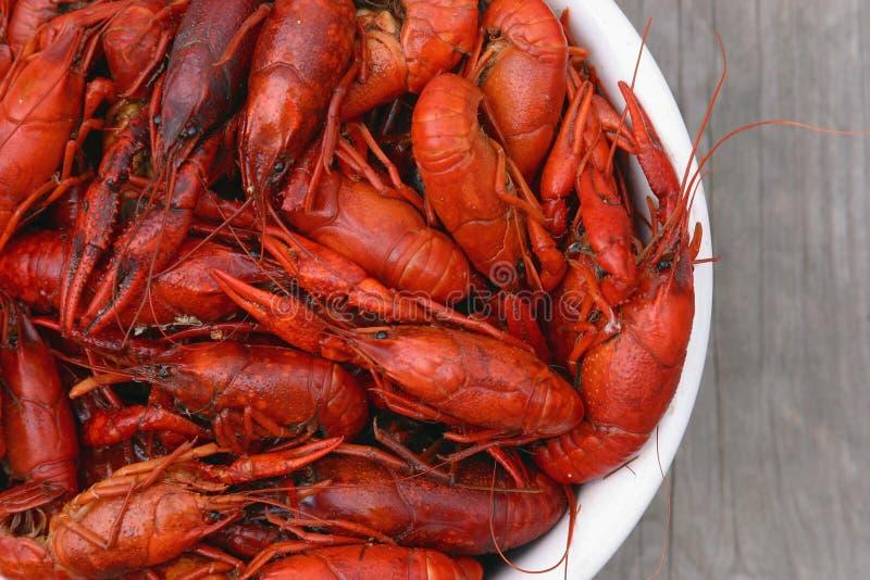 Bowl of Crawfish Top View royalty free stock image