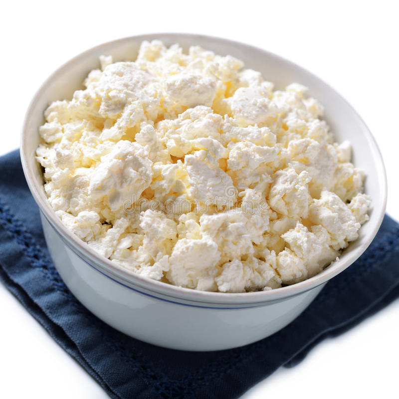 Download Bowl Of Crumbly Cottage Cheese Stock Photo