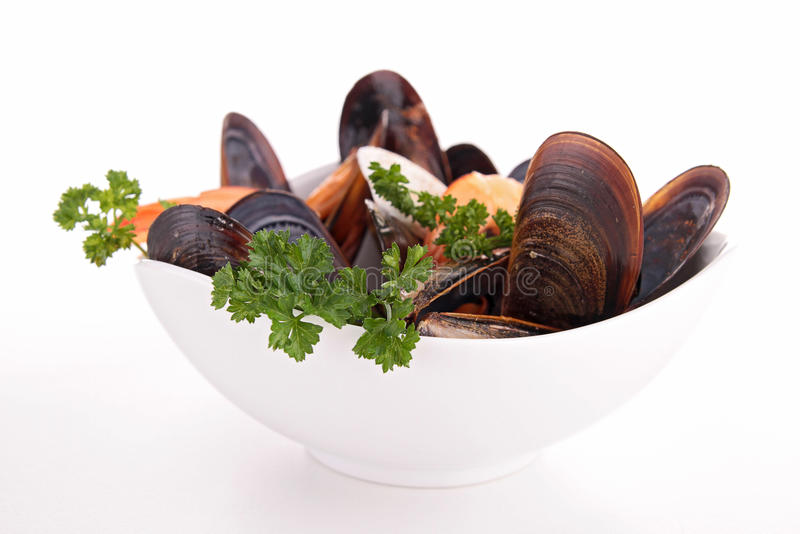 Bowl of crustacean. And parsley stock photography