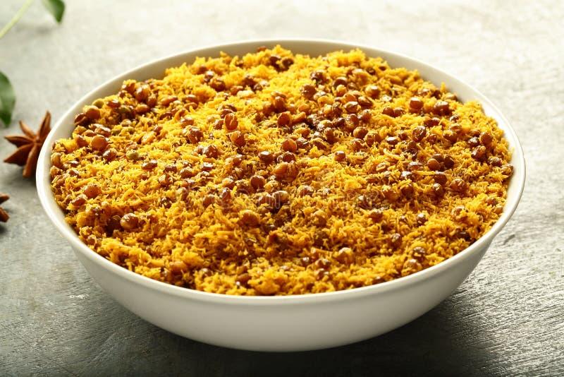 Bowl of Dal biji,moth namkeen from Indian cuisine. stock image