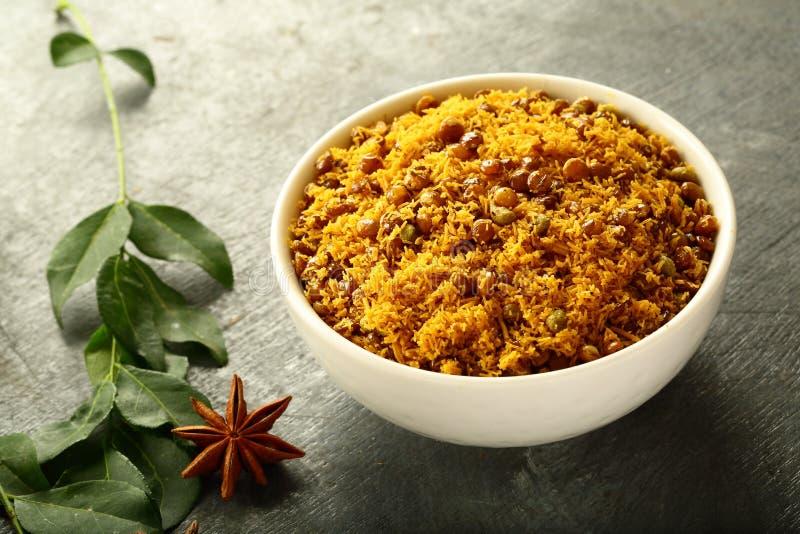 Bowl of Dal biji,moth namkeen from Indian cuisine. royalty free stock photo