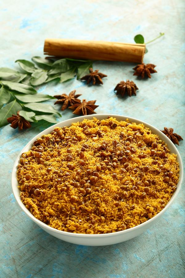 Bowl of Dal biji,moth namkeen  Indian fried spicy snacks stock photography