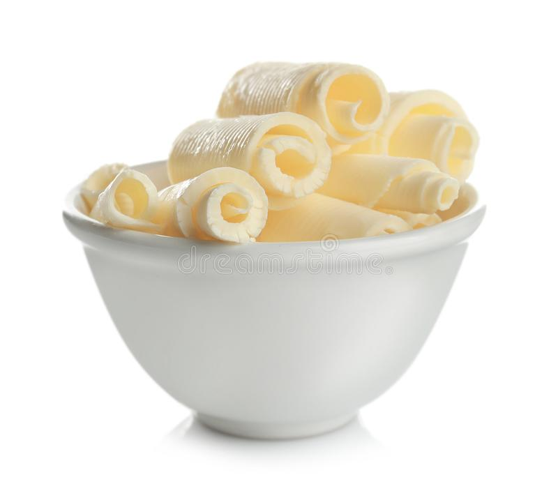 Bowl with delicious butter curls royalty free stock photos