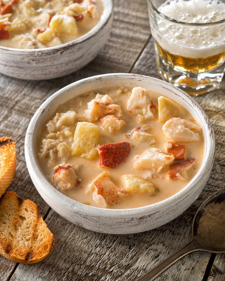 Download Creamy Lobster Chowder stock photo. Image of lobster - 110484026