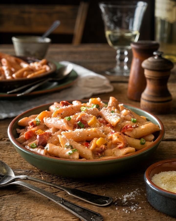 Download Cajun Lobster Pasta stock photo. Image of corn, homemade - 110484066