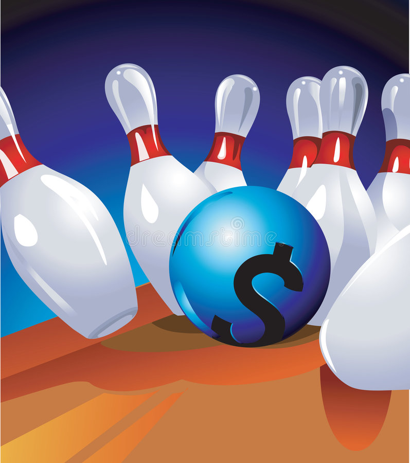 Bowl with Dollar sign. Hitting the pin vector illustration