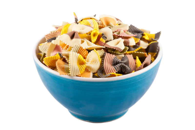 Bowl of Dried Pasta Bows royalty free stock photography