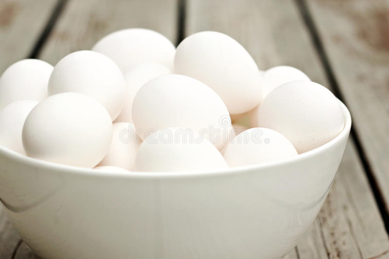 Bowl of Eggs. Eggs in a white bowl stock images