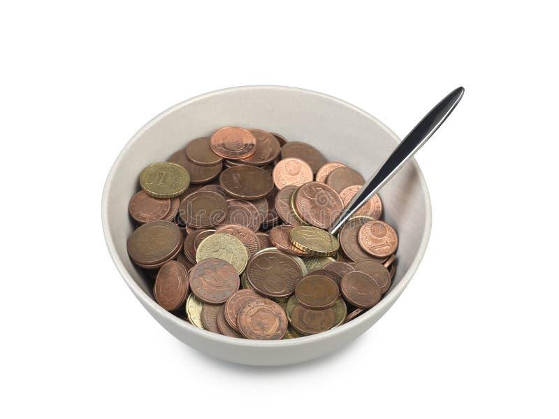 Bowl of european money with spoon stock photo