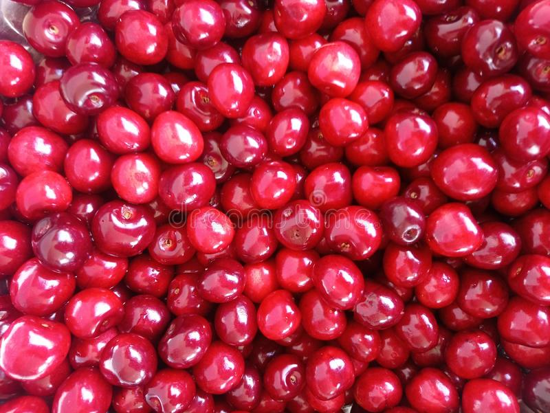 Bowl filled with cherries stock images