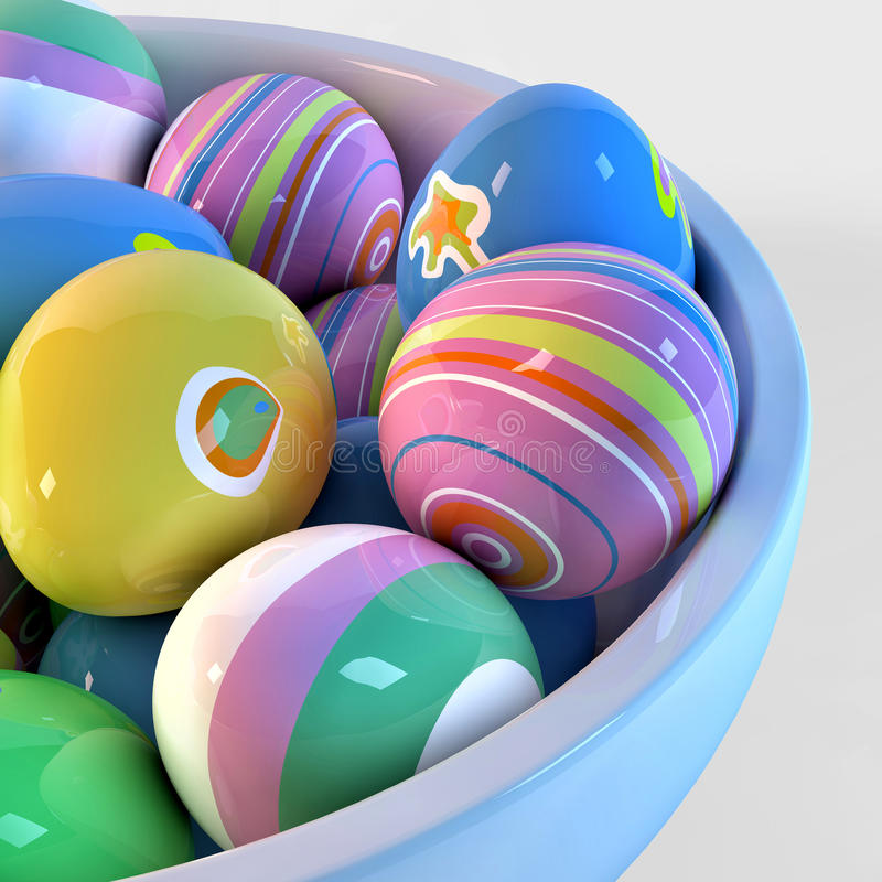 Bowl filled with easter eggs. Painted with different decoration royalty free illustration