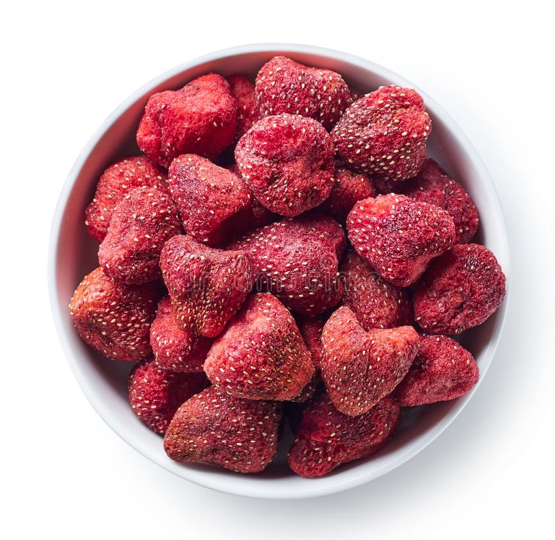 Bowl of freeze dried strawberries royalty free stock photography
