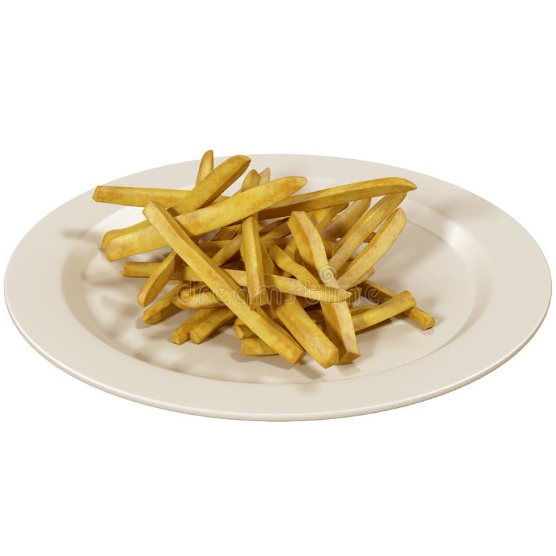 Bowl of french fries on white, royalty free illustration