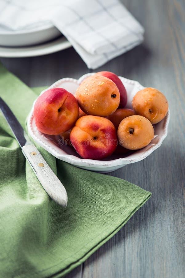 Bowl of fresh apricots stock image