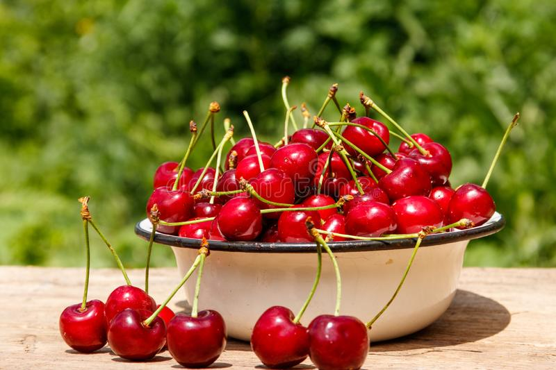 Bowl with fresh cherry on rustic wooden table outdoor. Bowl with fresh cherry on a rustic wooden table outdoor royalty free stock image