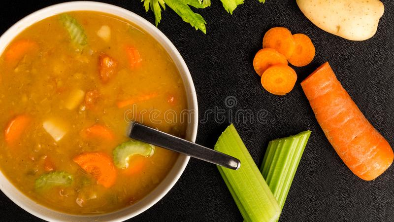 Bowl of Fresh Chunky Vegetable Soup stock images