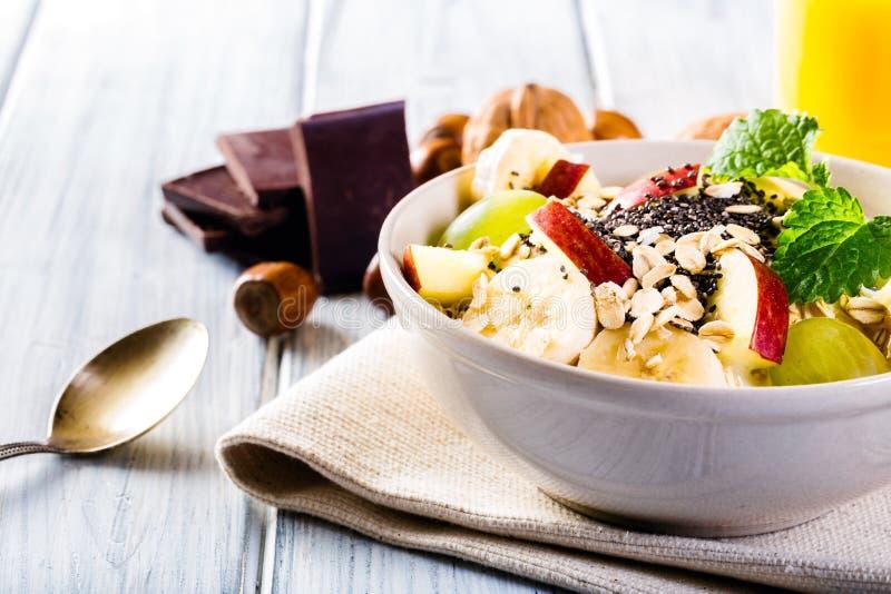 Bowl of fresh fruit. Healthy breakfast. stock image