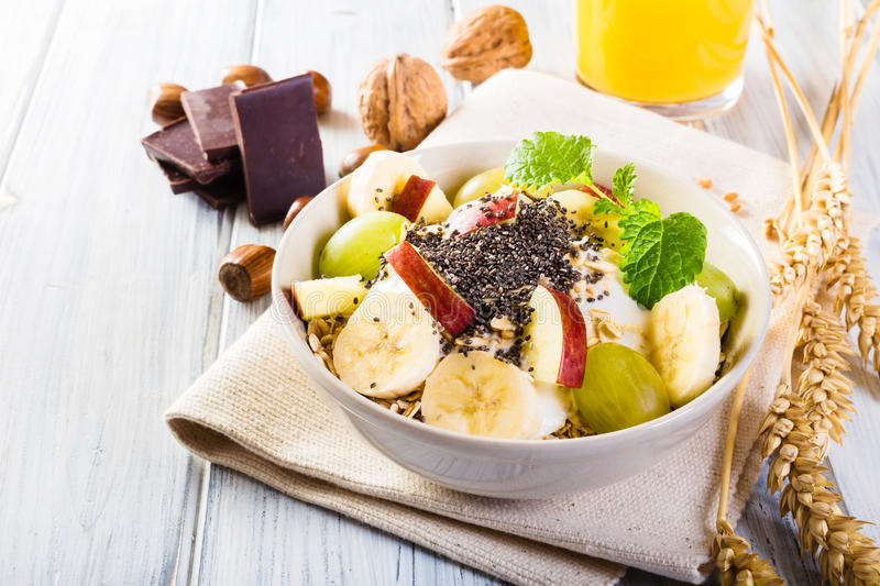 Bowl of fresh fruit. Healthy breakfast. stock images