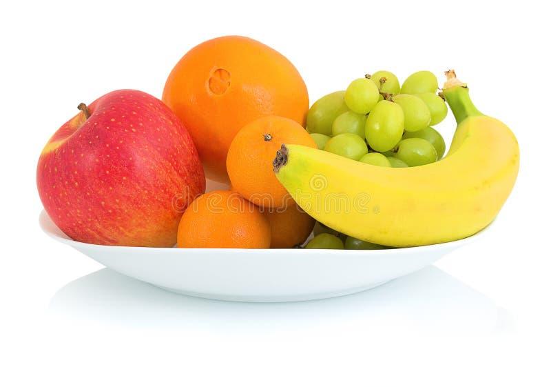 Bowl of fresh fruits isolated on white background with shadow reflection. Apple orange mandarin grape and banana in white bowl. stock image