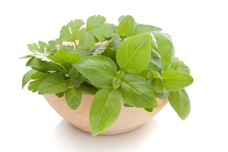 A Bowl Of Fresh Herbs Stock Photo
