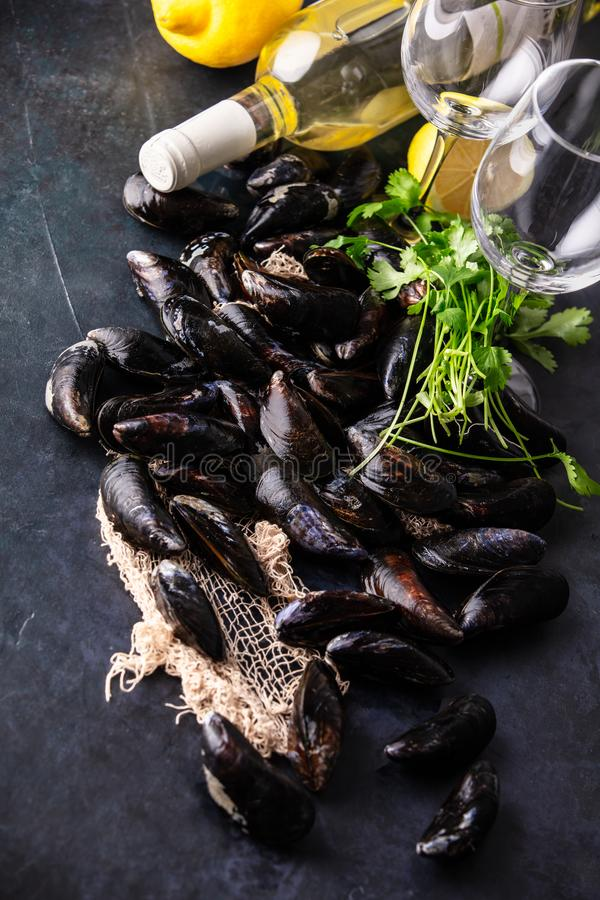 Bowl with fresh raw mussels with white wine, lemon and parsley royalty free stock photography