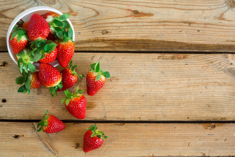 Bowl with fresh strawberries stock photo
