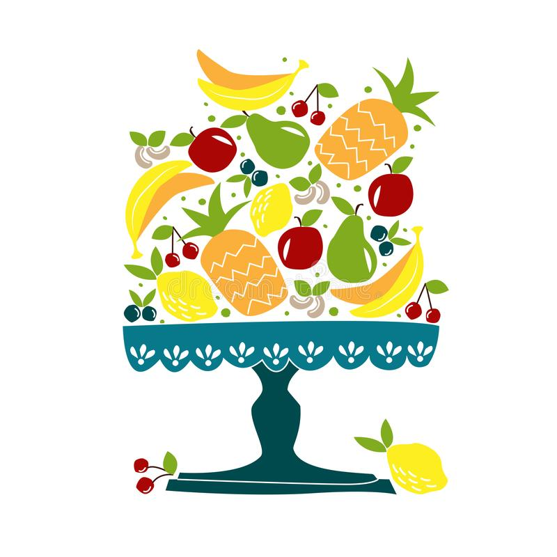 Bowl of fruit. royalty free illustration