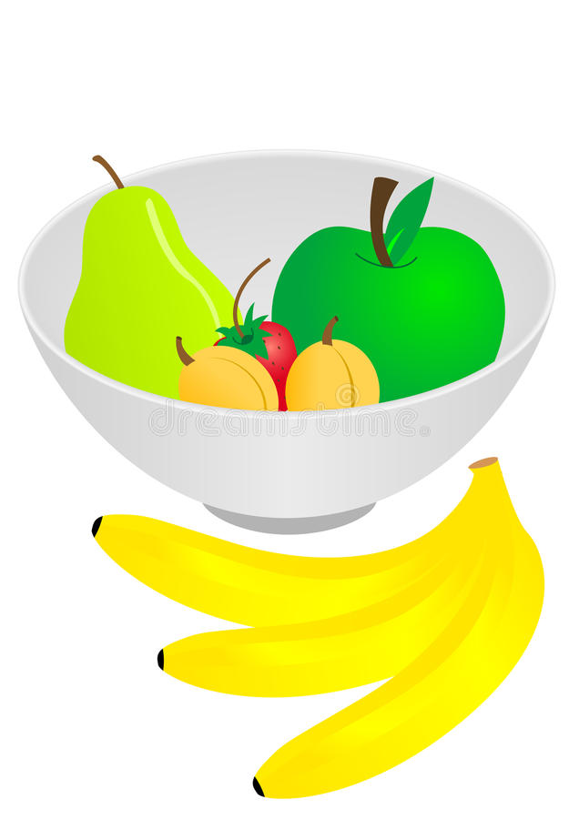 Bowl of fruits vector illustration