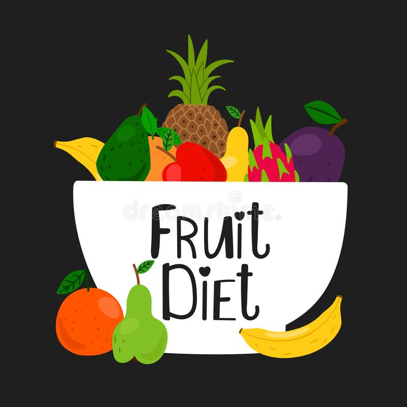 Bowl with fruits isolated on black background. Vector fruits illustration royalty free illustration