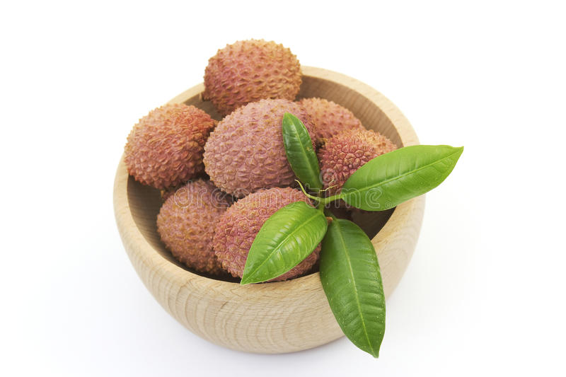 Bowl full of fresh lychee fruits royalty free stock photos