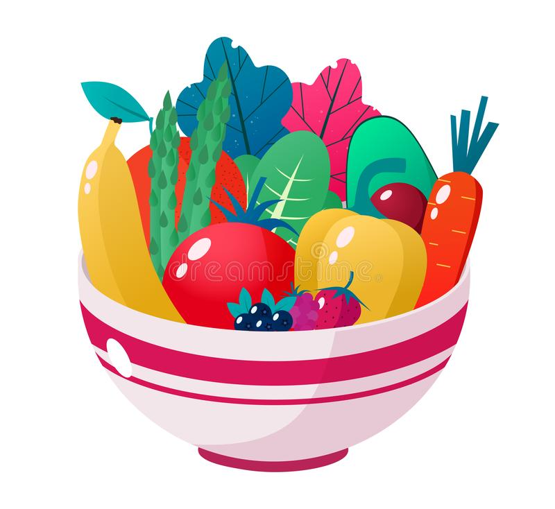 Bowl full of vegetables, fruits and berries vector illustration. Healthy lifestyle concept. Healthy eating. Bowl full of vegetables vector illustration. Healthy royalty free illustration
