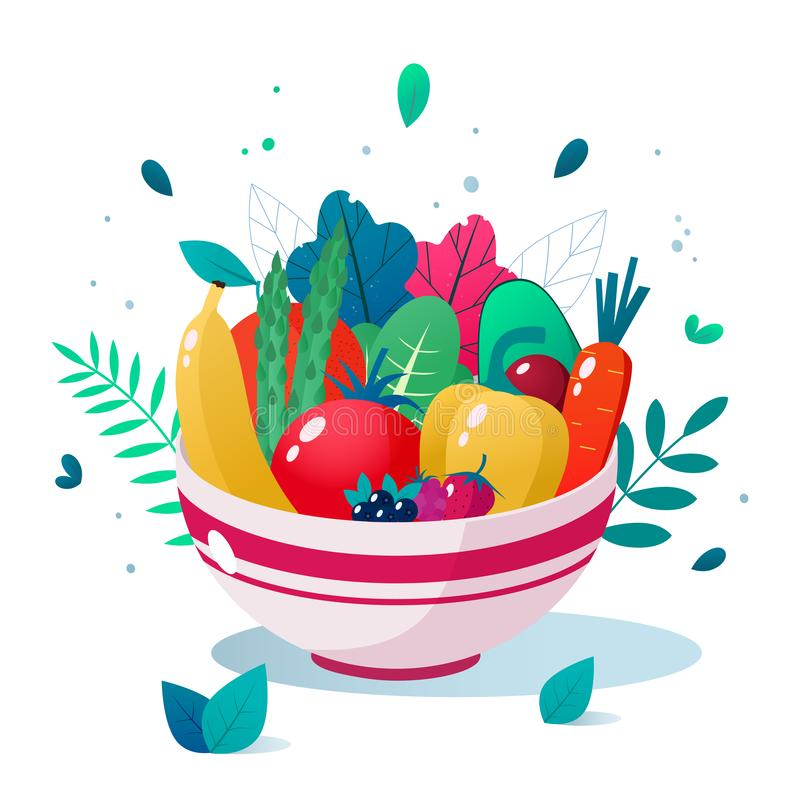 Bowl full of vegetables, fruits and berries vector illustration. Healthy lifestyle concept. Healthy eating. Bowl full of vegetables vector illustration. Healthy vector illustration