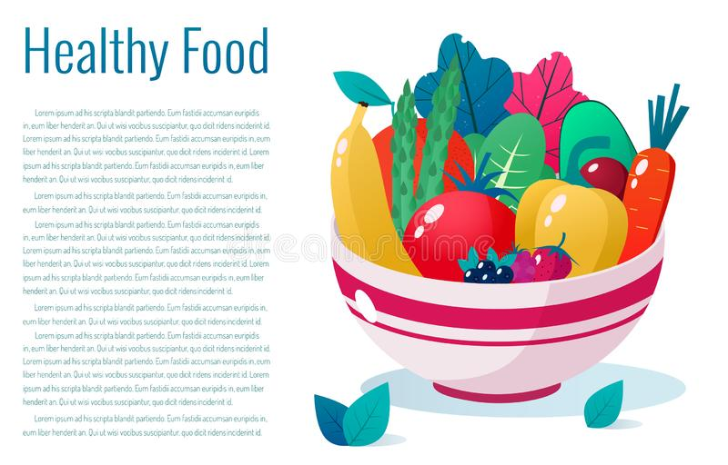 Bowl full of vegetables, fruits and berries  illustration. Healthy lifestyle concept. Healthy eating. Bowl full of vegetables  illustration. Healthy lifestyle stock illustration
