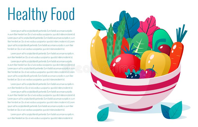 Bowl full of vegetables, fruits and berries  illustration. Healthy lifestyle concept. Healthy eating. Bowl full of vegetables  illustration. Healthy lifestyle royalty free illustration