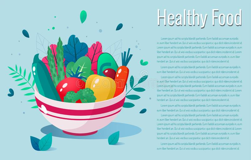 Bowl full of vegetables  illustration. Healthy lifestyle concept. Healthy eating. Bowl full of vegetables  illustration. Healthy lifestyle concept royalty free illustration